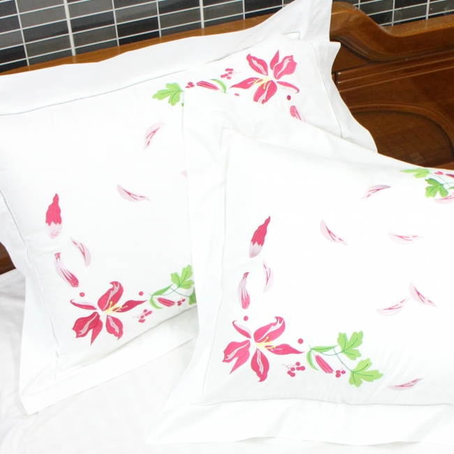 Lilium Flowers Embroidered Egyptian, White Bedding With Embroidered Flowers