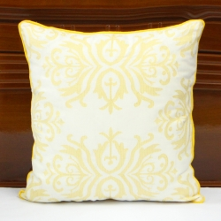 Baroque pattern embroidered linen decorative pillow cover