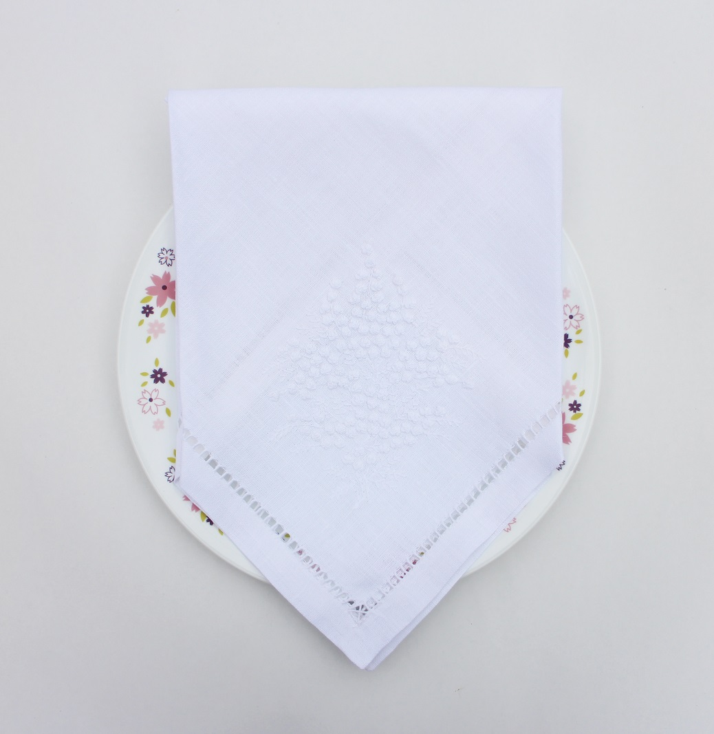Hand embroidered mimoza dinner napkin